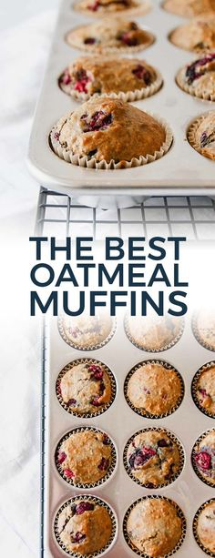 The Best Oatmeal Muffins – Raspberries – Ideas of Raspberries – The best oatmeal muffins are super moist and yummy. Packed with raspberries and / or other fruits they are easy to make and are a great grab-and-go breakfast or snack! Healthy Muffin Recipes, Best Breakfast Recipes, Healthy Muffins, Brunch Recipes, Dessert Recipes, Desserts, Healthy Food, Raspberry Oatmeal Muffins, Oatmeal With Fruit