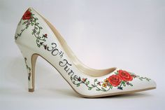 Rose Hand Painted Custom Wedding Shoes Personalized Bridal Date And Names Bride Groom