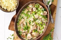 Tarragon gives this creamy chicken and broad bean fricassee a warm, aromatic flavour. Replace the chicken with quorn for a cheaper, veggie alternative. Meat Recipes, Chicken Recipes, Healthy Recipes, Healthy Meals, Healthy Food, Easy Meals, Yummy Food, Cooking Broad Beans, Broad Bean Recipes