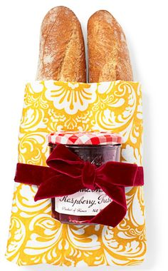 Your hostess will think you're the mostest when you show up with this baguette bundle. Cut a loaf in half, then wrap in a towel. Tie a jam jar on top with velvet ribbon. Towel, $6 for two, amazon.com  - GoodHousekeeping.com