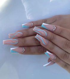 Colored Acrylic Nails, Long Square Acrylic Nails, Bling Acrylic Nails, Acrylic Nails Coffin Short, Best Acrylic Nails, Acrylic Nail Designs, Pink Nails, Chic Nails, Dope Nails