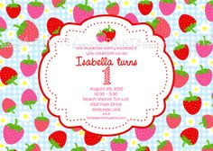 Strawberry Gingham Blue Invite birthday party or picnic