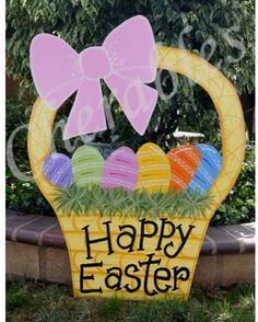 Easter Basket 3' Yard Art Easter Outdoor Wood Decoration