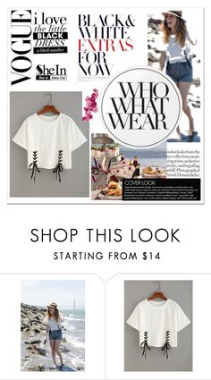 """""""Double Lace T-shir"""" by nency-n ❤ liked on Polyvore featuring Essie, Who What Wear and shein"""