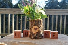 Fall Wedding Decor Log Vase Centerpiece by JCBees on Etsy, $45.00