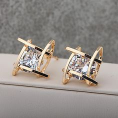 Elegant and Charming Black Rhinestone Full Crystals Square Stud Earrings for Women Girls Statement Piercing Jewelry 5476861 2017 – $4.28