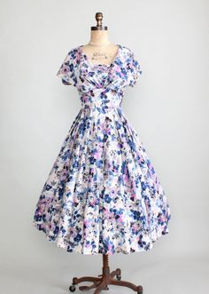 1950s Floral Silk Shawl Collar Dress