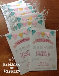 Sweet and simple invitation with mini bunting detail. Birthday Cards, Happy Birthday, Birthday Parties, Deco Baby Shower, Diy Invitations, Graduation Invitation Cards, Partys, Unicorn Party, Holidays And Events
