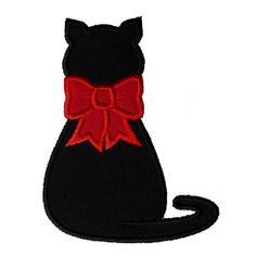 Kitty Cat with Bow Applique Machine Embroidery Design