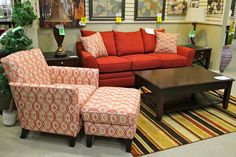 Klaussner Red Sofa and Accent Chair - Colleen's Classic Consignment, Las Vegas, NV - https://cccfurnishings.com