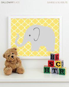 Modern Nursery Art Elephant Nursery Print, Safari Animal Kids Wall Art for Children Room Playroom, Baby Nursery Decor - One 8x10. $17.00, via Etsy.