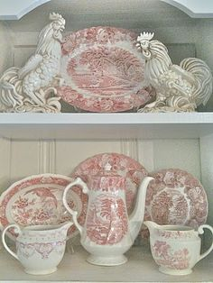 FRENCH COUNTRY COTTAGE: VINTAGE ❤ Love these white chickens displayed with the toile dishes!