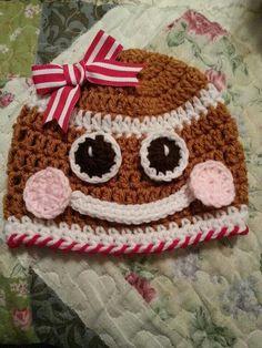 Crocheted gingerbread hat