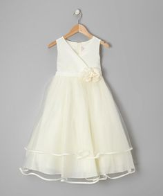 Another great find on #zulily! Ivory Embellished Surplice Dress - Toddler & Girls by Kid's Dream #zulilyfinds