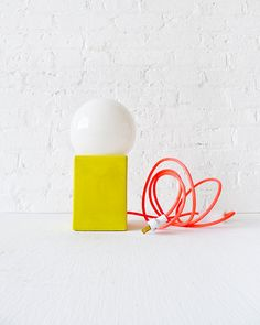 Vintage Yellow Cube Bowl Mod Lamp w/ Neon Pink Color Cord