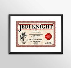 Honorary Jedi Knight Certificate PERSONALISED - Star wars inspired Print - BUY 2 Get 1 FREE by ShamanAlternative on Etsy