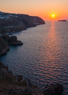 Santorini and Akrotiri sunset in Greece