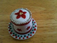 Christmas cake on handpainted plate