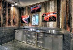 Tile And Wood Paneling Garage Walls With Stainless Steel Cabinets Garage Walls, Basement Walls, Garage Organization Tips, Garage Ideas, Diy Garage, Garage Storage, Tool Storage, Kitchen Storage, Garage Design