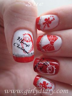 Christmas White with Silver Trimmed Red Tip, Candy Cane with Bow