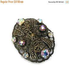 SALE Vintage Aurora Borealis Filigree Brooch Rhinestone Pin