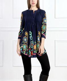 Another great find on #zulily! Navy Garden Notch Neck Tunic - Women #zulilyfinds