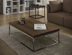 Temahome Prairie Rectangular Walnut Coffee Table, Choice of Leg Frame