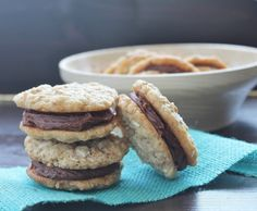 Fudge Filled Fibre Cookies - an oatmeal cookie with fibre cereal is the perfect sandwich material for a slab of #fudge :)