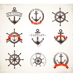 Set of vintage nautical icons and symbols vector - by ma_rish on VectorStock®