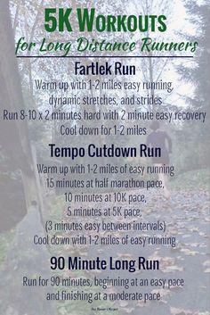 Workouts for Long Distance Runners fun running ideas, running ideas half marathons, running ideas workout Running Workout Plan, Running Training Plan, Running Schedule, Xc Running, Speed Workout, Lose Weight Running, Treadmill Workouts, Track Workout, Tempo Run Workout