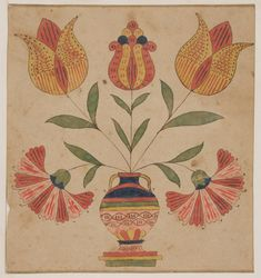 Works on Paper - Fraktur (Drawing) - Search the Collection - Winterthur Museum Watercolor Paintings Abstract, Painting & Drawing, Painting Tips, Folk Art Flowers, Flower Art, Indian Paintings, Art Paintings, Art Populaire, Les Religions