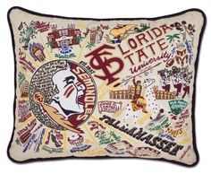 Florida State University Embroidered Pillow from southern|ELEVATION