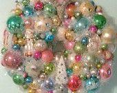 Shabby Chic Vintage Ornament Wreath With Christmas Bulbs, Figurines