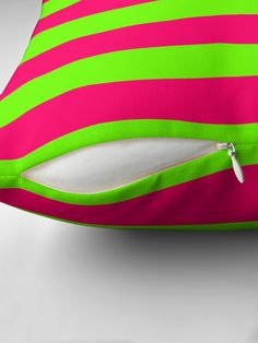 """""""Bright Neon Green and Pink Horizontal Cabana Tent Stripes"""" Throw Pillow by podartist 