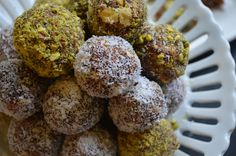 Date Nut Balls Rolled in Coconut or Pistachio