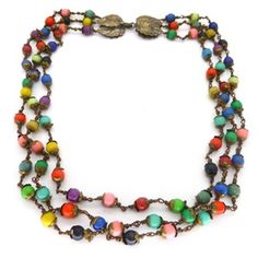 Image of Vintage 1940s French Rainbow Resin Bead Necklace