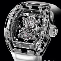 Richard Mille has introduced their latest Richard Mille RM Tourbillon Sapphire luxury watch. Amazing Watches, Beautiful Watches, Cool Watches, Rolex Watches, Unique Watches, Dream Watches, Richard Mille, Tourbillon Watch, Skeleton Watches