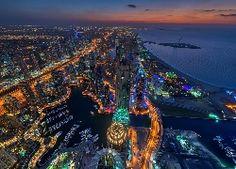Dubaj, Miasto Nocą, Panorama, Z Lot Ptaka