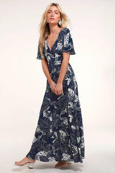 c2fefd4c Lulus | Savanna Navy Blue Floral Print Maxi Dress | Size Large | 100%  Polyester