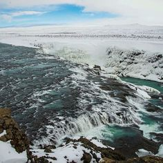 The Gullfoss #Waterfall in #Iceland hopefully awaits #spring.    Photo courtesy of brianthio on Instagram.