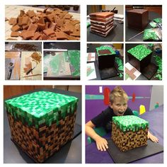 Minecraft Cake... The journey.  Made by my sweet friend, Mary.  Amazing, right?