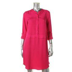 Splendid Womens Solid Adjustable Sleeves Shirtdress