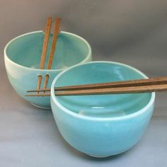 "Set of two robin's egg blue ceramic ""chopstick bowls"""