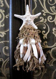 Starfish, twine & ribbon tassel