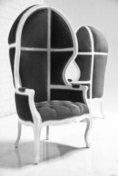 Balloon Chair in Charcoal Velvet
