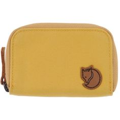 Fjall Raven Coin Purse (£46) ❤ liked on Polyvore featuring bags, wallets, yellow, zippered coin pouch, change purse, coin pouch wallet, change purse wallet and zip bag