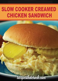 Looking for an easy recipe to feed a crowd? Check out this Slow Cooker Creamed Chicken Sandwich recipe!