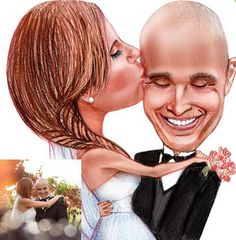 Hand Drawn Colour Wedding Caricature - Personalised Gift - Wedding Couple Caricature - Digitally Delivered
