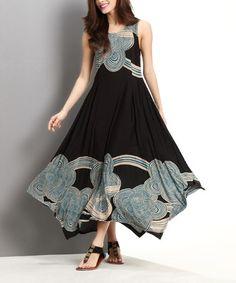 Loving this Black & Teal Cloud Handkerchief Maxi Dress on #zulily! #zulilyfinds