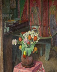 vanessa bell(1879-1961), interior, 8 fitzroy street. oil on canvas, 75 x 62 cm. royal west of england academy, uk http://www.bbc.co.uk/arts/yourpaintings/paintings/interior-8-fitzroy-street-185334